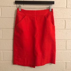 J. CREW Red Pencil Skirt